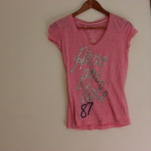 Small Pink Aeropostale Tee with Glitter Writing